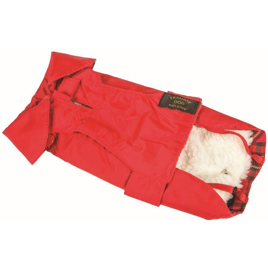 Fashion Dog Italy Cappotto Impermeabile Imbottito Invernale Per Cane Tg 21 Rosso
