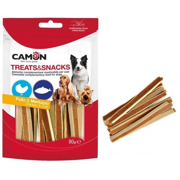 Camon AE017 Snack Per Cani Pollo e Merluzzo Masticabili Senza Glutine