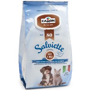 Camon LA007 100 Salviette Detergenti Igeniche Per Cani e Gatti Fragranza Latte e Miele