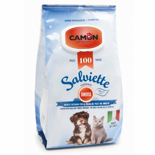 Camon LA008 100 Salviette Detergenti Igeniche Per cani e Gatti Fragranza Ambra