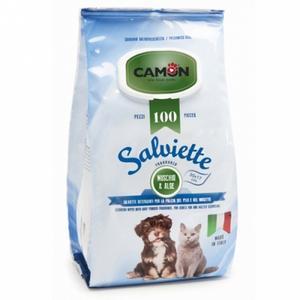 Camon LA006 100 Salviette Detergenti Igeniche Per Cani e Gatti fragranza Muschio Aloe