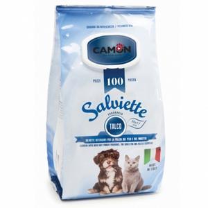 Camon LA005 100 Salviette Detergenti Igeniche Per Cani e Gatti Fragranza Talco