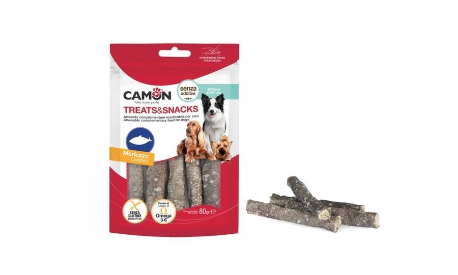 Camon AE873 Snack Per Cani Con Pesce Merluzzo Bastoncini Masticabili Premietti