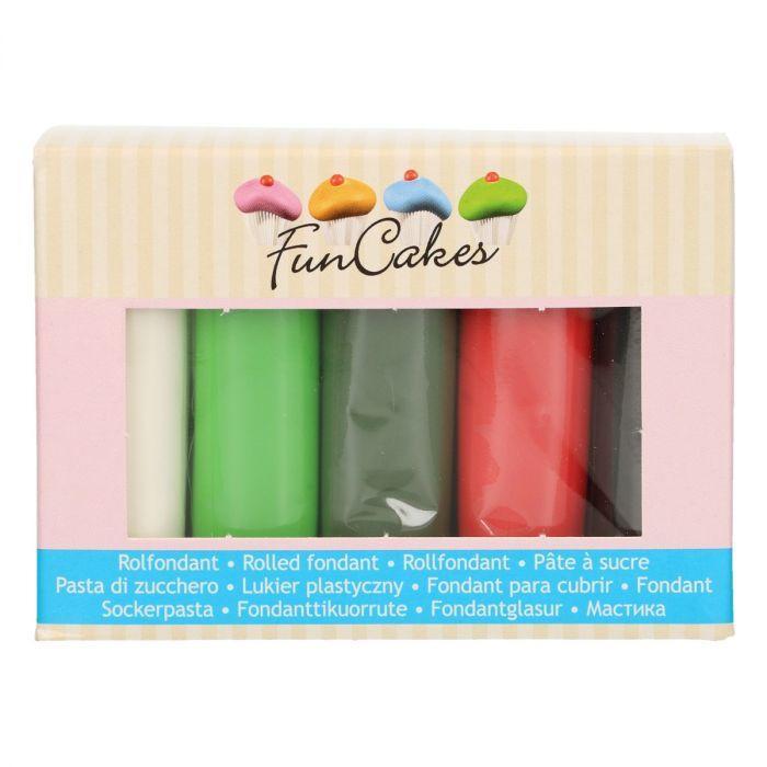 Confezione multipla pasta di zucchero Funcakes colori natale