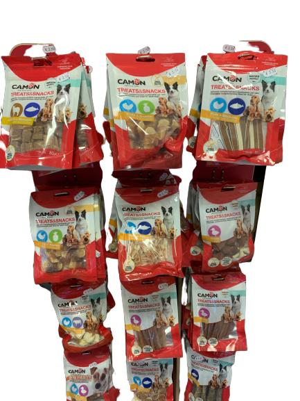 Camon 10 Confezioni Di Snack Bocconcini Misti Per Cani Pollo Anatra Salmone Merluzzo