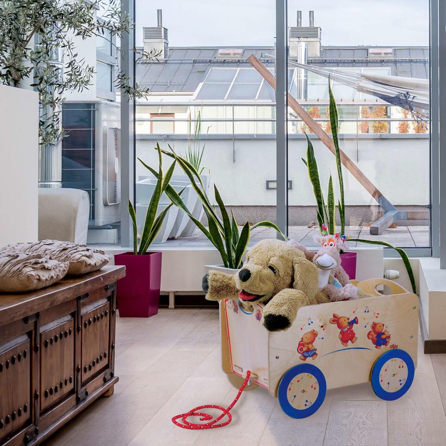 """Carretto """"Animaletti"""" per Bambini in Legno Naturale con animaletti suonatori di Dida"""