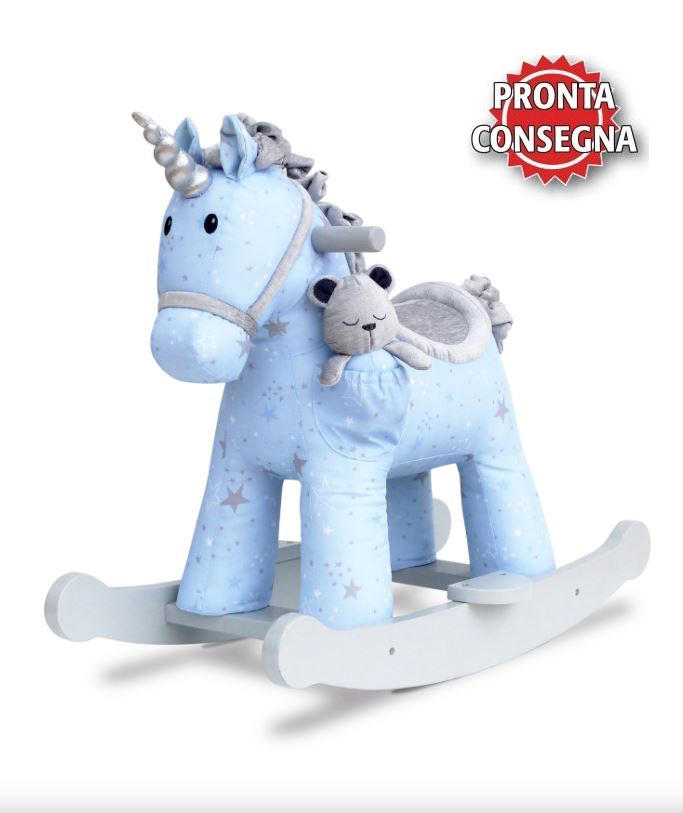 Cavallo a Dondolo in Tessuto Moonbeam & Rae Rocking Unicorno con pupazzetto di Little Bird Told Me
