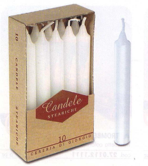CANDELE STEARICHE BIANCHE PZ 10X10