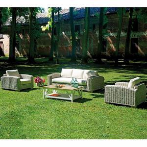 Salotto da giardino SET VARANASI tavolo 2 poltrone 1 divano PES38 fibra naturale grigio con cuscini
