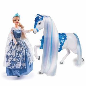 La regina dei Ghiacci e il suo cavallo Bambola bambina - Grandi Giochi 28923-SQ - 3+ Anni