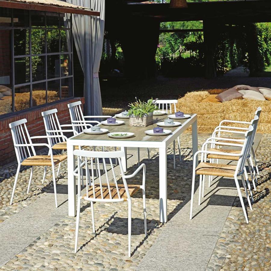 Tavolo da giardino RECANATI 200 X 96 in alluminio bianco piano vetro spazzolato effetto legno