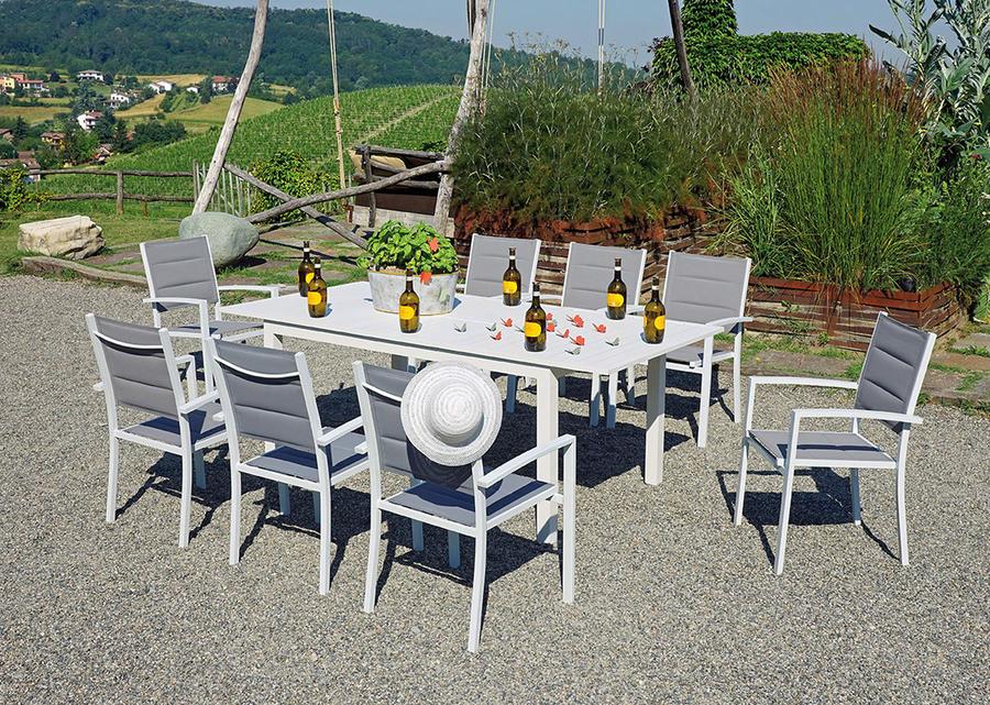 TAVOLO da giardino CAPANNORI allungabile 106 / 212 x 75 cm alluminio bianco RTA 40 BI