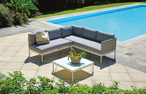 Set relax da giardino angolare CORNER SET APRICA in alluminio con rivestimento in wicker e cuscini SET 119