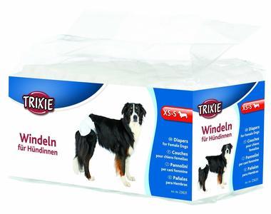 Trixie 12 Pannolini Per Cane Femmina Taglia Piccola XS S Assorbenti Igiene
