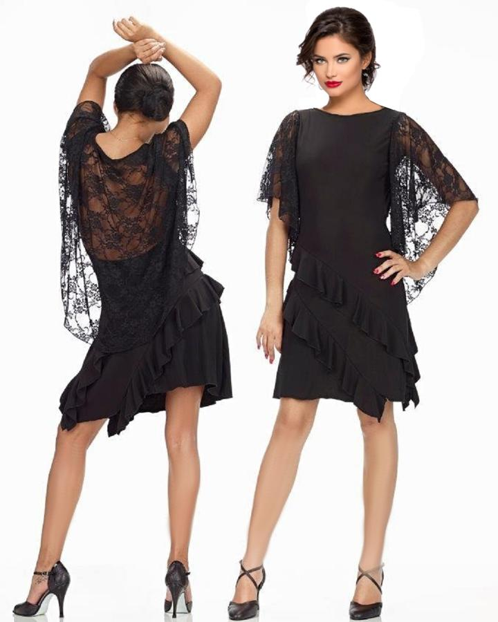 DRESS WITH RUFFLES AND LACE ON THE SHOULDERS WITH NECKLINE BACK 4-0121