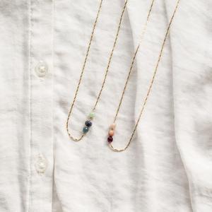 Bracciale- collana in gold filled con tris di pietre [ + colori ]