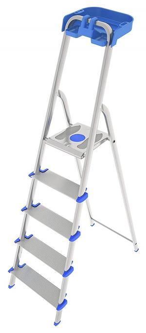 Scala domenica in alluminio ROBUSTA TITANICA scalino extra largo 5 gradini