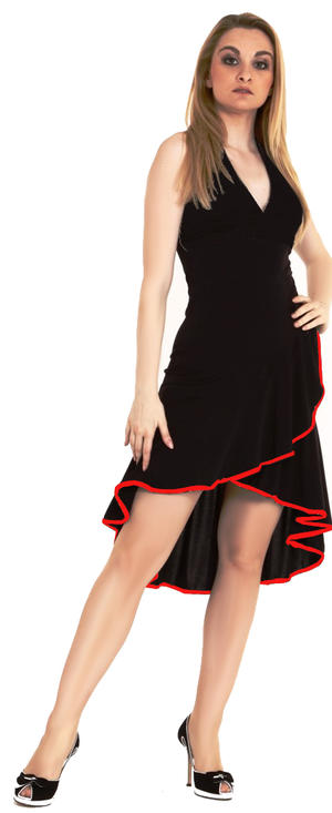 LATIN DANCE DRESS SHORT IN FRONT AND LONG BEHIND IN BLACK JERSEY 4-0123