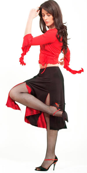 ARGENTINE TANGO SKIRT WITH 2 SLITS LINED WITH RED NET TULLE 2-0040