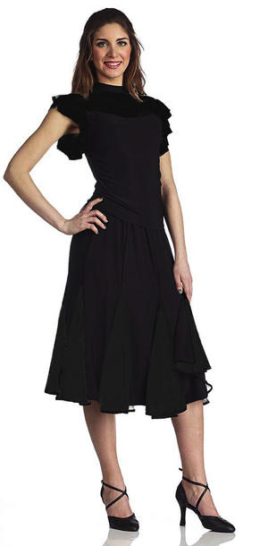 MEDIUM SKIRT IN JERSEY WITH TULLE INSERTS LENGTH 70 cm. 2-0041