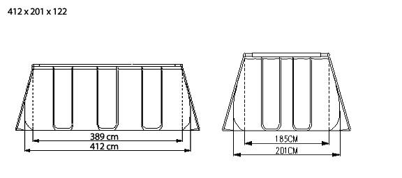 Piscina Bestway Ultra frame rettangolare 56244 412 x 203 x 122 h con pompa sabbia modello 2015