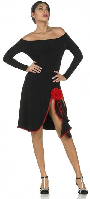 ELASTIC JERSEY TANGO DRESS WITH SLIT SLEEVES AND RED DETAILS 4-0124