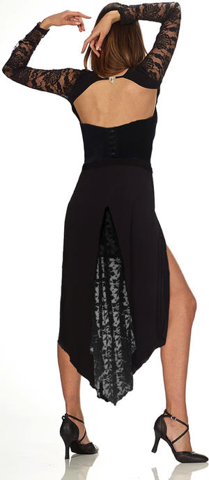 DANCE AND TANGO SKIRT WITH LATERAL CONCEALED SPLIT AND LACE OR TULLE TAIL 2-0042