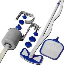 Kit manutenzione pulizia piscina aspiratore skimmer retino deluxe Bestway 58237