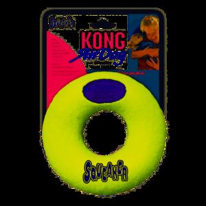 kong Airdog Squeaker Ciambella XL gioco Per Cani 16,5cm Palla Resistente con Suono