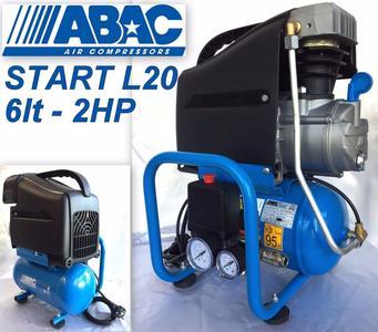 Compressore elettrico portatile ABAC START L20, serbatoio 6 litri, motore 2 HP aria compressa