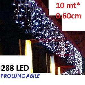 Tenda Luminosa Natalizia BIANCO FREDDO PROLUNGA PIOGGIA LUCI 10m x 60cm 288led