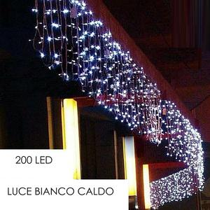 Tenda Luminosa Natalizia LUCE BIANCO CALDO LUCI 10m x 40cm 200led PROLUNGA PIOGGIA