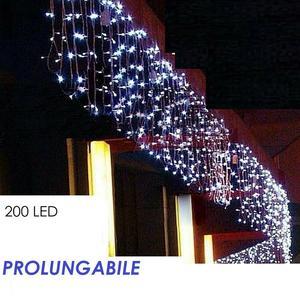 Tenda Luminosa Natalizia LUCE BIANCO FREDDO LUCI 10m x 40cm 200led PROLUNGA PIOGGIA