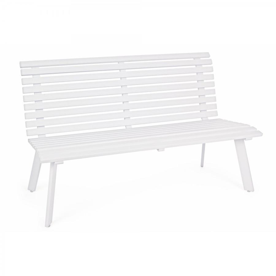Panca 3 posti panche giardino seduta panchina esterno alluminio MALI 150 cm BIANCA