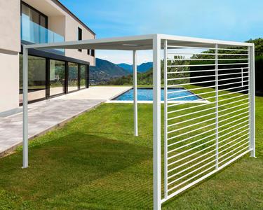 Gazebo da esterno in alluminio NOLLAH misura 280 x 280 h 220 colore bianco