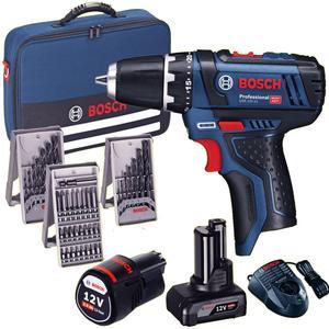 Avvitatore Bosch GSR 12V-15 Trapano a batteria 2 Batterie 2.0 AH e 4.0 Ah + 39 accessori + Borsa