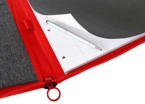 Porta blocco A4 con cerniera Colore Grigio/Rosso - Linea Passenger