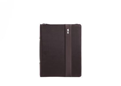 Portablocco formato A4 con chiusura zip e manico Colore Marrone - Linea Easy +