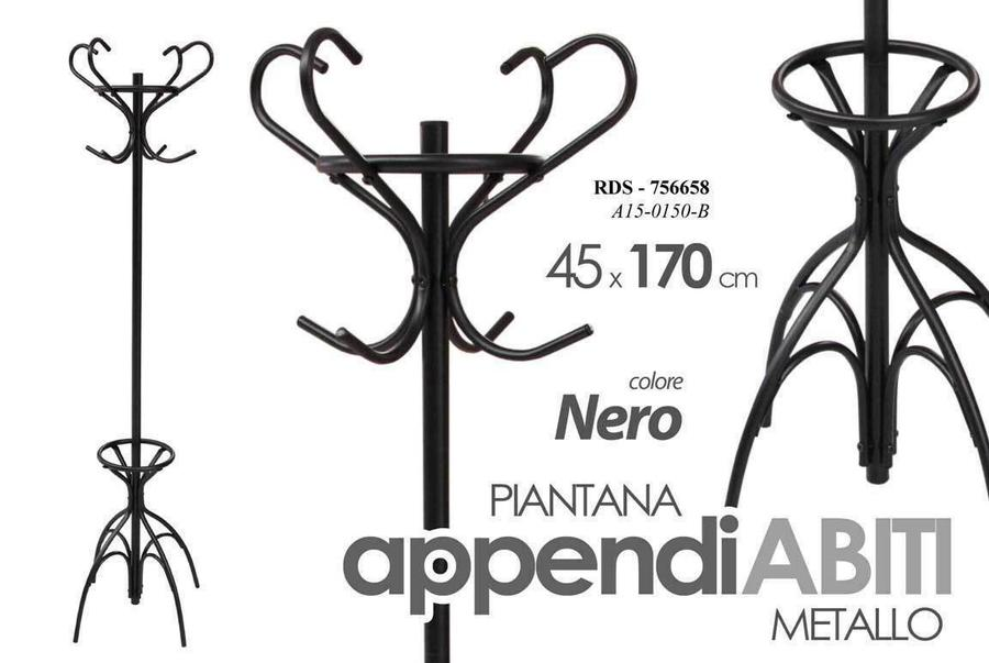 Appendino Appendiabiti Piantana in Metallo Bianco Nero Moderno Casa 45x170 cm