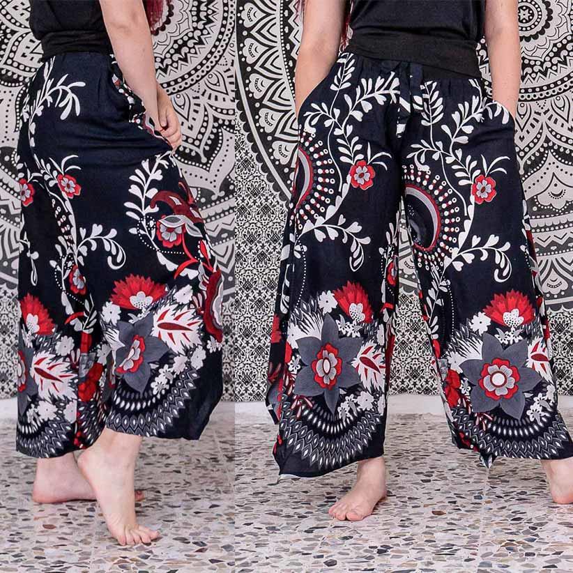 Pantalone donna Keertana zampa d'elefante - fiorato nero bianco rosso