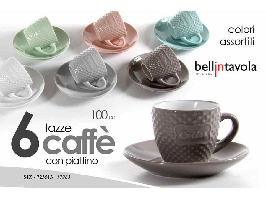 Tazzine da Caffè Caffe Moka con manico Piattino Tazze 100CC Colori assortiti 6PZ