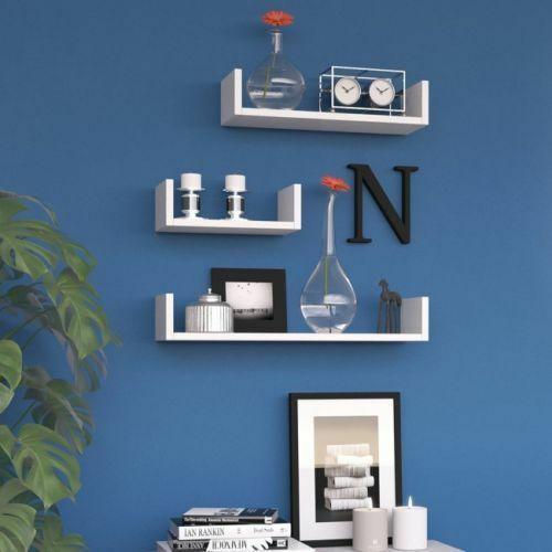 Set 3 Mensole Muro moderne Mensola da parete scaffale pensile legno CD Design Bianco Nero Noce Grigio