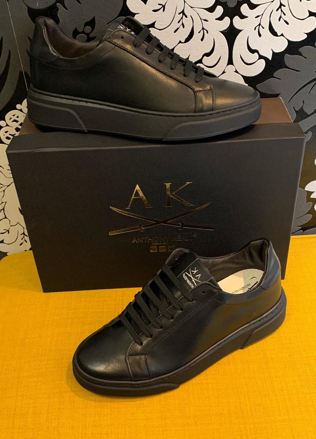 Sneakers uomo Anthony Kenji in pelle nera