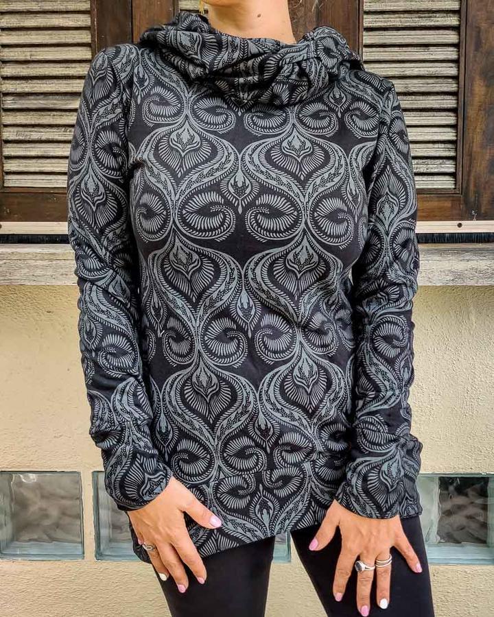 Long woman hooded sweatshirt Archita - black & gray