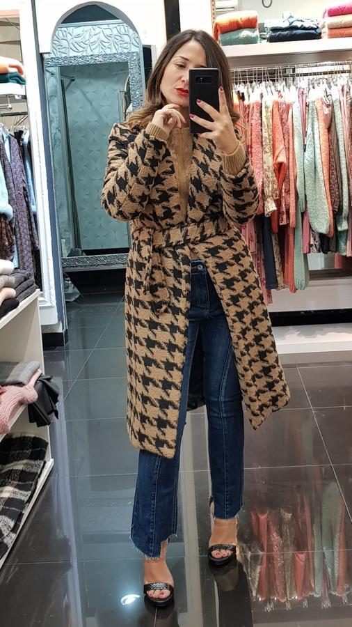 Cappotto lungo pied ed poul in lana con cintura