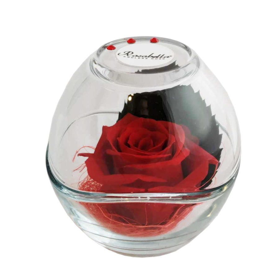 Rosabella® Vera Rosa Stabilizzata in Sfera di Vetro con Strass Swarovski - 3 Varianti Colore RB-EL-110