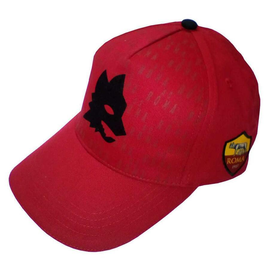 AS ROMA CAPPELLO VISIERA LUPETTO STORICO Logo Retrò Originale tag Unica in 2 colori Nero o Rosso