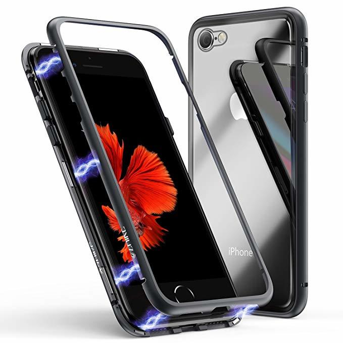 Cover Magnetica Alluminio Custodia per Apple iPhone 6/6S/ 6 PLUS Vetro Temperato 9H
