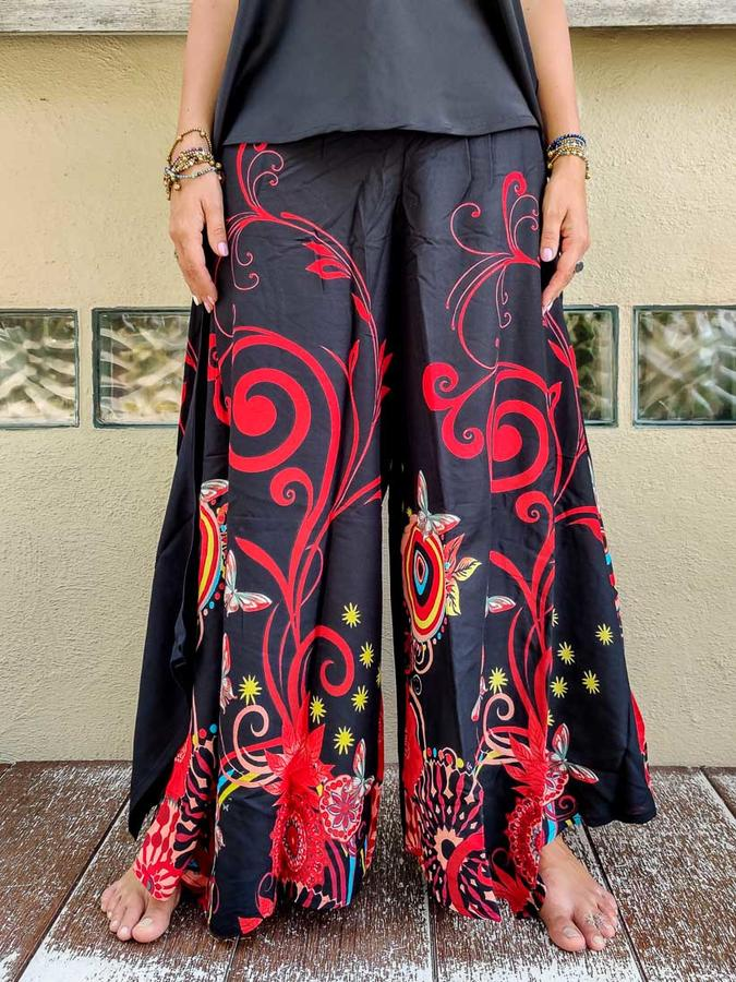 Pantalone donna Keertana zampa d'elefante - fiorato rosso