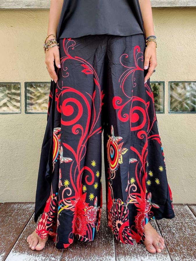 Pantalón acampanados mujer Keertana - mariposas rojas